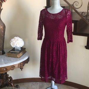 AB STUDIO deep raspberry lace dress